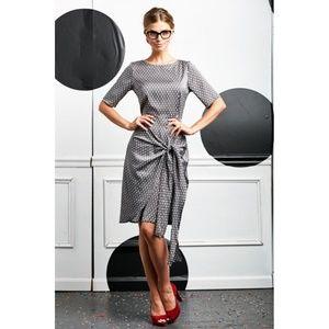 Shabby Apple Black White Domino Tie Front Dress